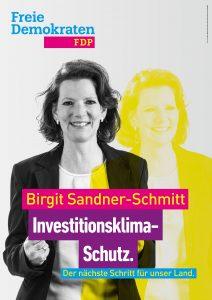 Kandidatenplakat Birgit Sandner-Schmitt_gelb