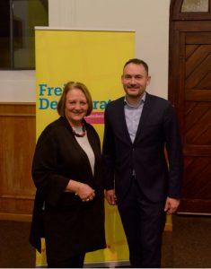 Sabine Leutheusser-Schnarrenberger mit dem FDP Bundestagskandidaten für Mannheim Florian Kußmann