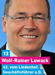 13. Wolf-Rainer Lowack, 62, vom Lindenhof, Geschäftsführer i.R.