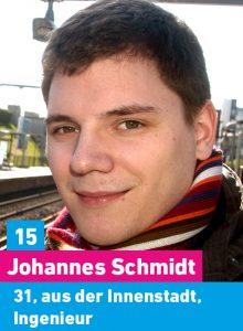 15. Johannes Schmidt, 31, aus der Innenstadt, Ingenieur