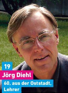 19. Jörg Diehl, 60, aus der Oststadt, Theologe, Lehrer