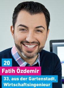 20. Fatih Özdemir, 33, aus der Gartenstadt, Wirtschaftsingenieur