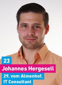 23. Johannes Hergesell, 29, vom Almenhof, Wirtschaftsinformatiker