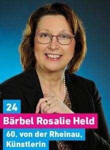 24. Bärbel Rosalie Held, 60, von der Rheinau, Künstlerin