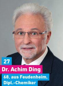 27. Dr. Achim Ding, 68, aus Feudenheim, Diplomchemiker