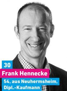 30. Frank Hennecke, 54, aus Neuhermsheim, Diplomkaufmann