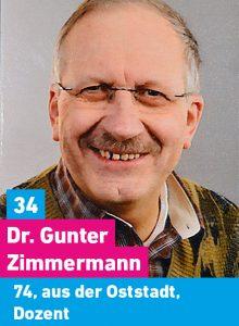 34. Dr. Gunter Zimmermann, 74, aus der Oststadt, Dozent