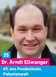 35. Dr. Arndt Ellwanger, 49, aus Feudenheim, Patentanwalt