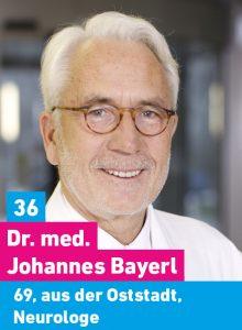 36. Dr. Johannes Bayerl, 69, aus der Oststadt, Neurologe