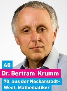 40. Dr. Bertram Krumm, 70, aus der Neckarstadt-West, Diplommathematiker