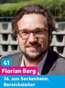41. Florian Berg, 36, aus Seckenheim, Bereichsleiter öffentlicher Dienst