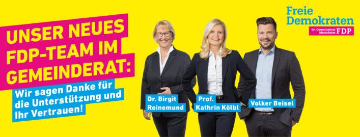 Unser neues FDP-Team im Mannheimer Gemeinderat: Dr. Birgit Reinemund, Volker Beisel, Prof. Kathrin Kölbl